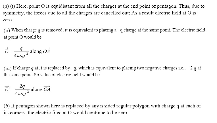 NCERT Exemplar Solutions for CBSE Class 12 Physics, Chapter 1: Electric Charges and Fields, Solution number 1.25