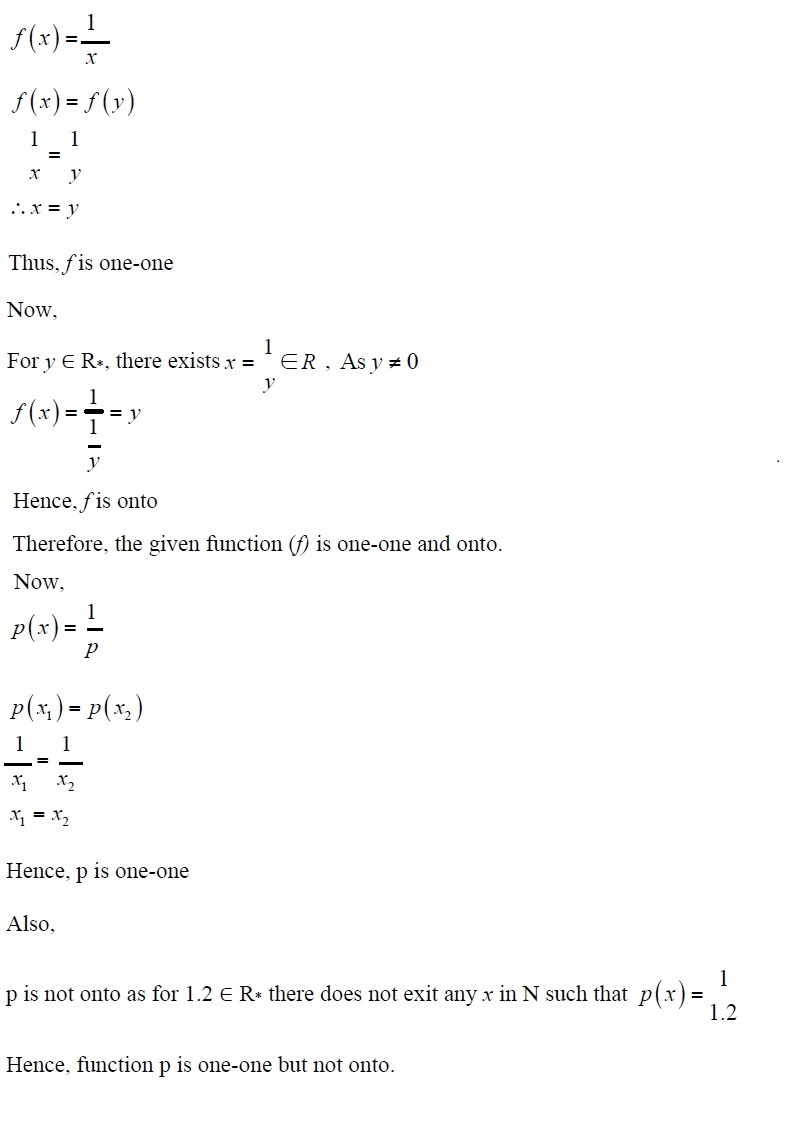 NCERT Solutions for CBSE Class 12th Maths, Chapter 1: Relations and Functions, Exercise 1.2, Solution No. 1