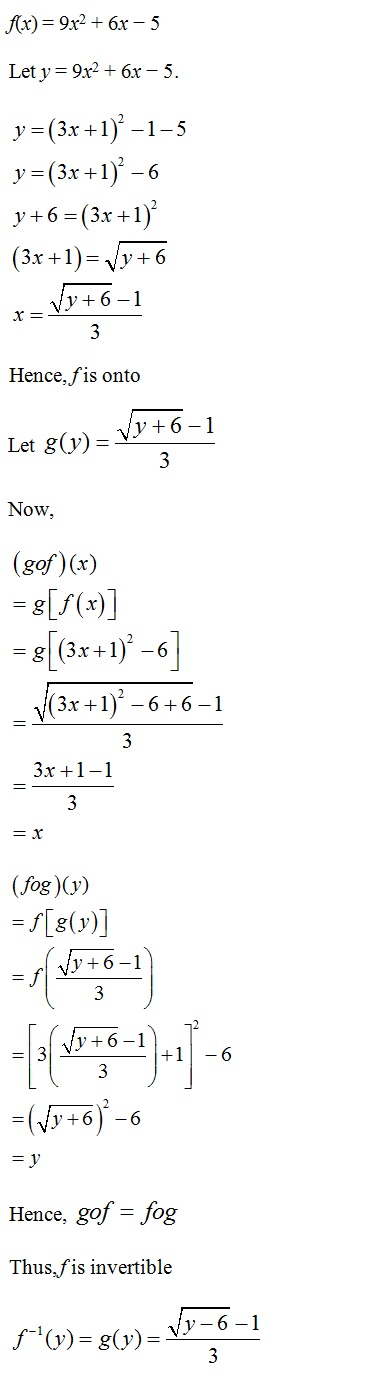 NCERT Solutions for CBSE Class 12th Maths, Chapter 1: Relations and Functions, Exercise 1.3, Solution 9