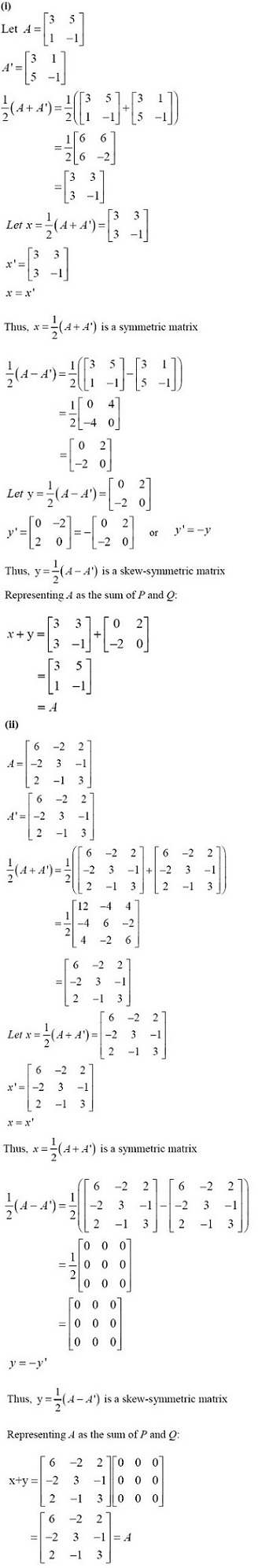 NCERT Solutions for CBSE Class 12 Mathematics ‒ Chapter 3: Matrices (Exercise 3.3, Solution 10 i & ii)