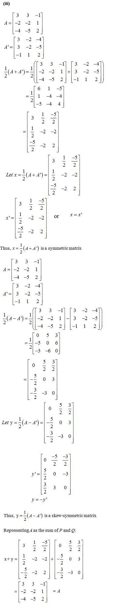 NCERT Solutions for CBSE Class 12 Mathematics ‒ Chapter 3: Matrices (Exercise 3.3, Solution 10 iii)