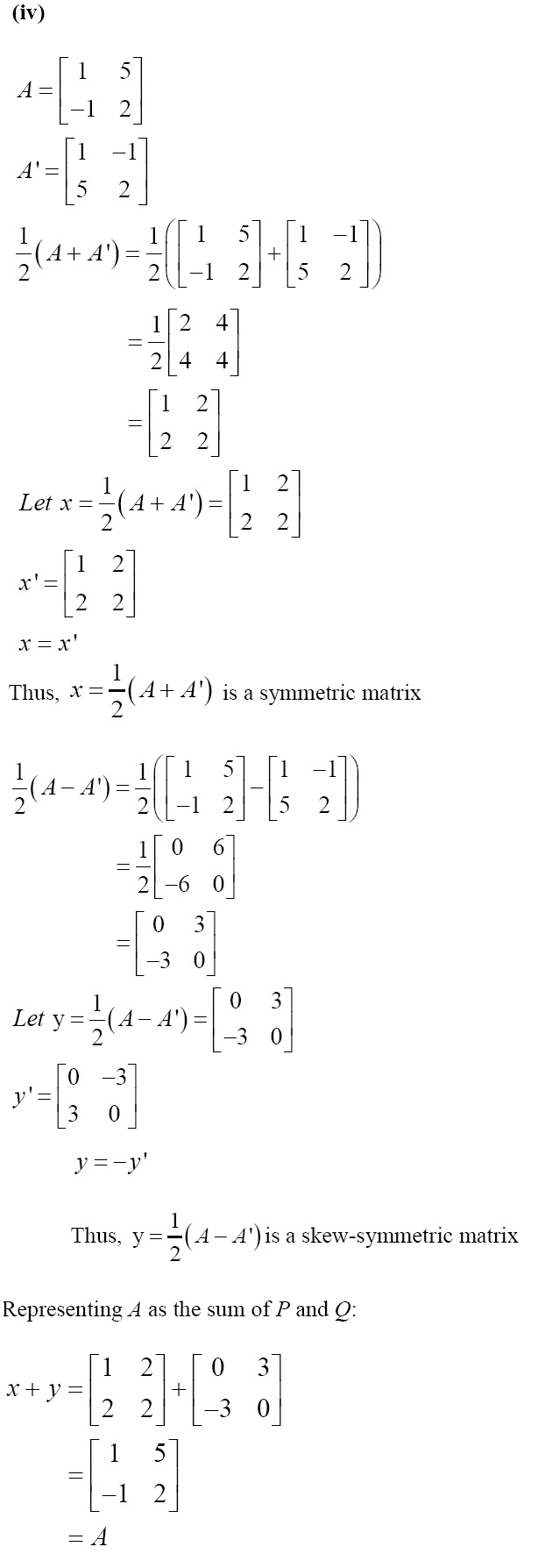 NCERT Solutions for CBSE Class 12 Mathematics ‒ Chapter 3: Matrices (Exercise 3.3, Solution 10 iv)