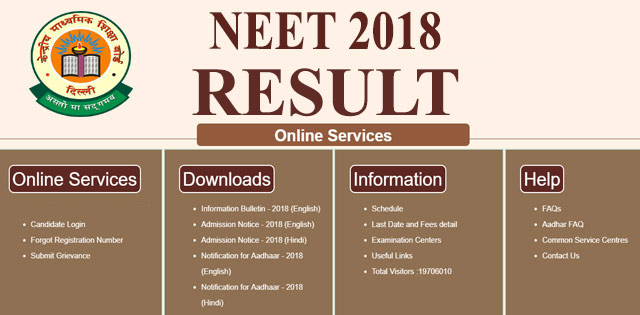 NEET Result 2018 To Be Declared Today By CBSE @ cbseneet.nic.in