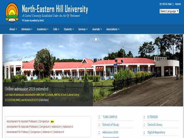 North Eastern Hill University (NEHU) Junior Research Fellow (JRF) Posts 2019