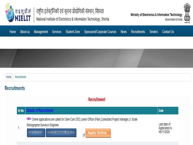 NIELIT Shimla Recruitment 2020