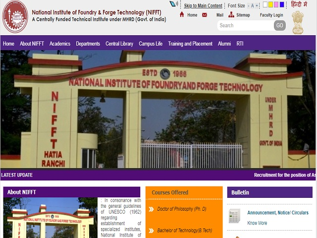 National Institute of Foundry and Forge Technology (NIFFT) Director Posts 2019