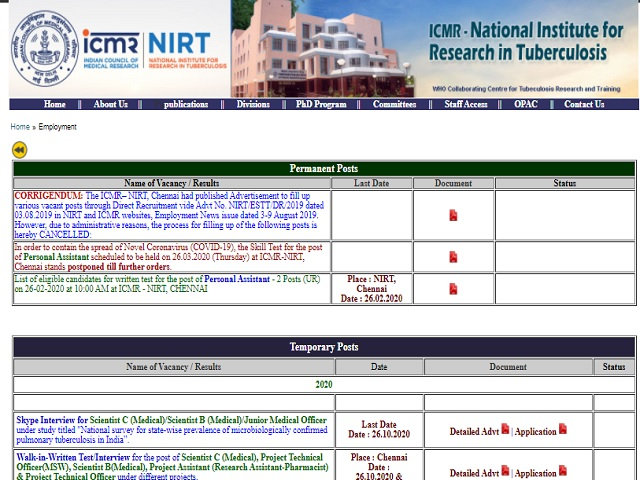 NIRT Recruitment 2020, Walk in for 12 Scientist C (Medical)/Scientist B (Medical)/Junior Medical Officer Posts