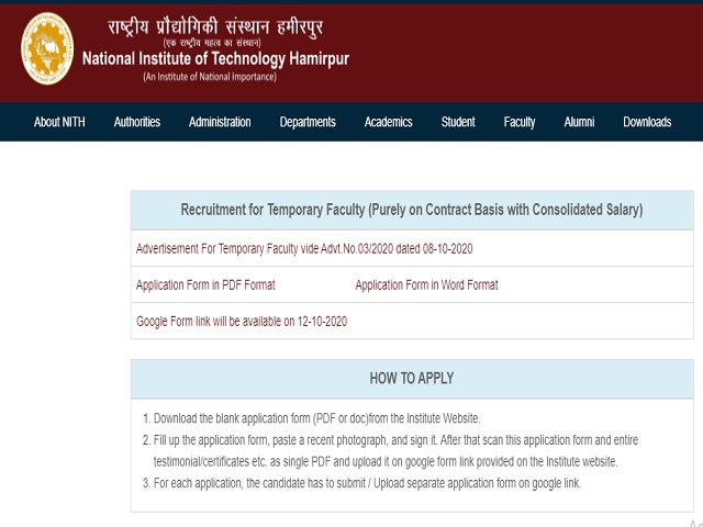 National institute of Technology Hamirpur Recruitment 2020: Apply Online for Temporary Faculty Posts