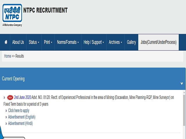 NTPC Limited Head of Excavation/Executive (excavation) and Other Posts 2020