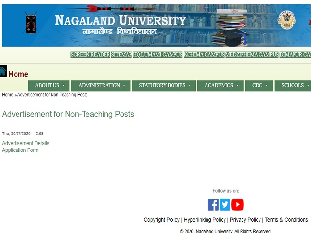 Nagaland University Finance Officer, IAO, Hindi Officer and Other Posts 2020