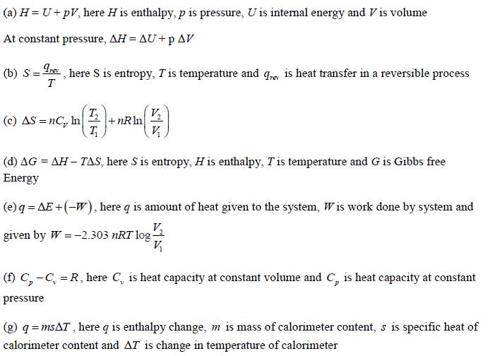 Thermodynamics Important Formulae
