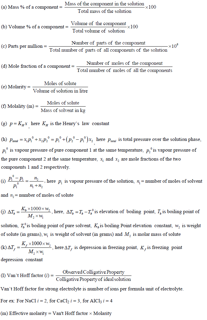 Solutions Important Formulae