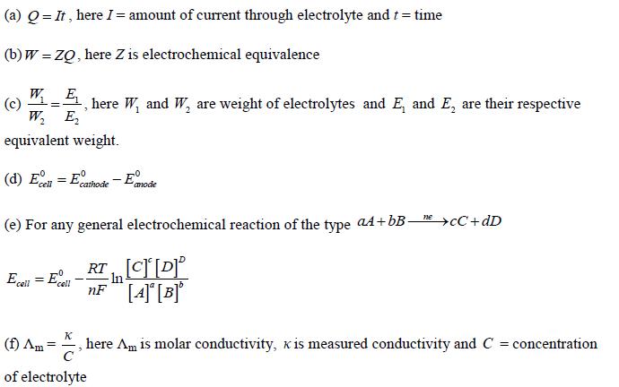 Electrochemistry Important Formulae