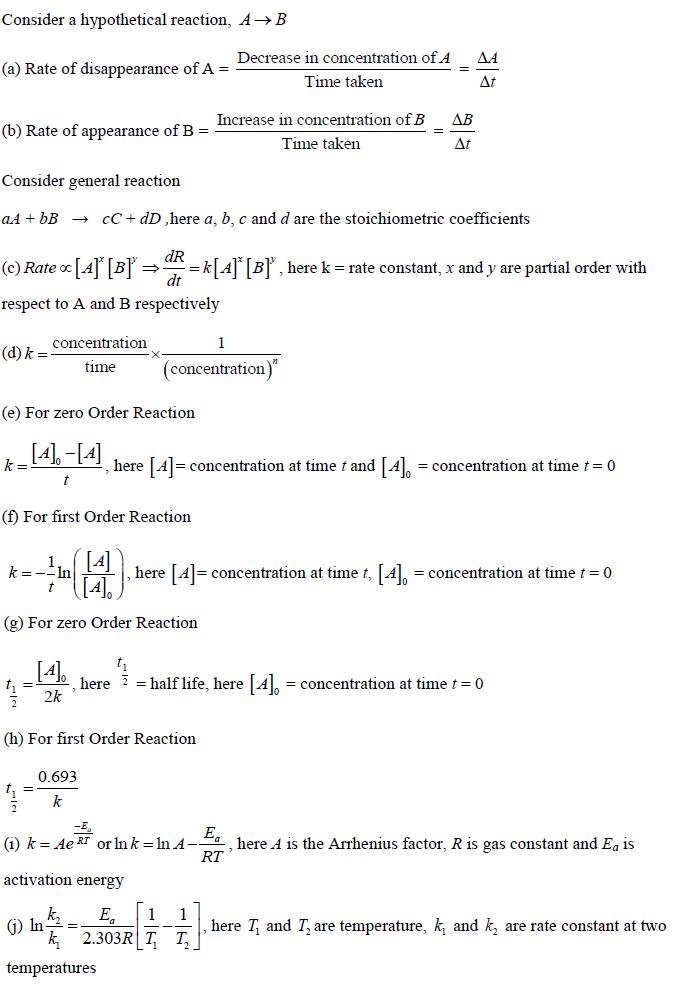 Chemical Kinetics Important Formulae