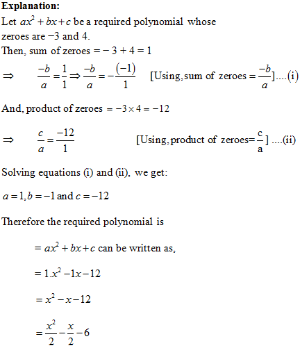 Class 10 Mathematics NCERT Exempla, NCERT Exemplar Solution, Polynomials Class 10 NCERT Exemplar
