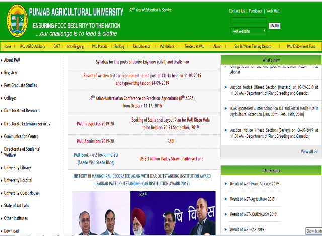 Punjab Agricultural University (PAU) Research Associate/Research Fellow and SRF Posts 2019