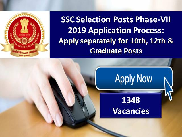 SSC Selection Posts Phase-VII(7) 2019 Application Process: Apply