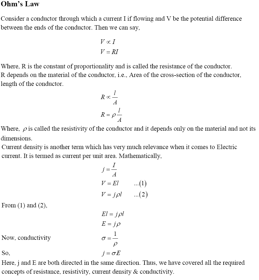 CBSE Class 12th Physics Notes Current Electricity Part - I