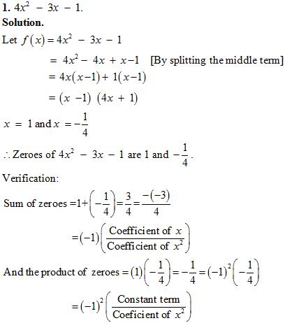 Class 10 Mathematics chapter 2: NCERT Exemplar Solution