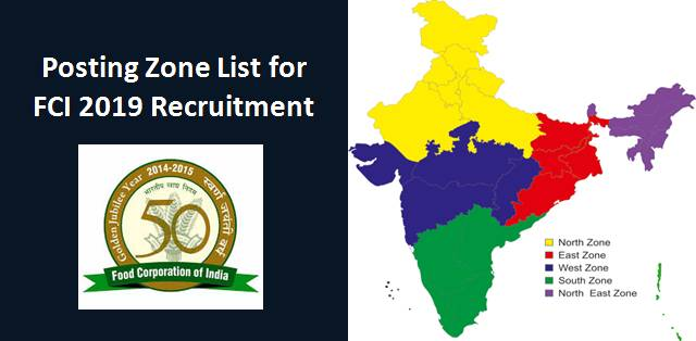 Posting Zone list for FCI 2019 Recruitment