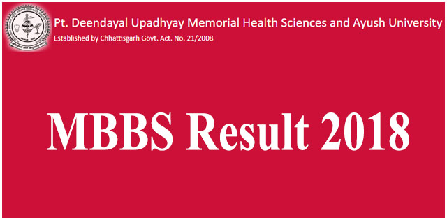 Pt. Deendayal Upadhyay Memorial Health Sciences and Ayush University MBBS final result declared at cghealthuniv.com