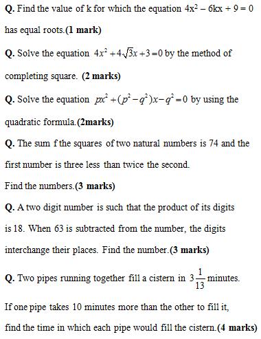 CBSE Class 10 Mathematics | Quadratic Equations- Important Questions