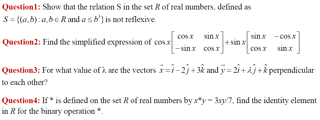 4 questions of section A: Class 12 maths paper