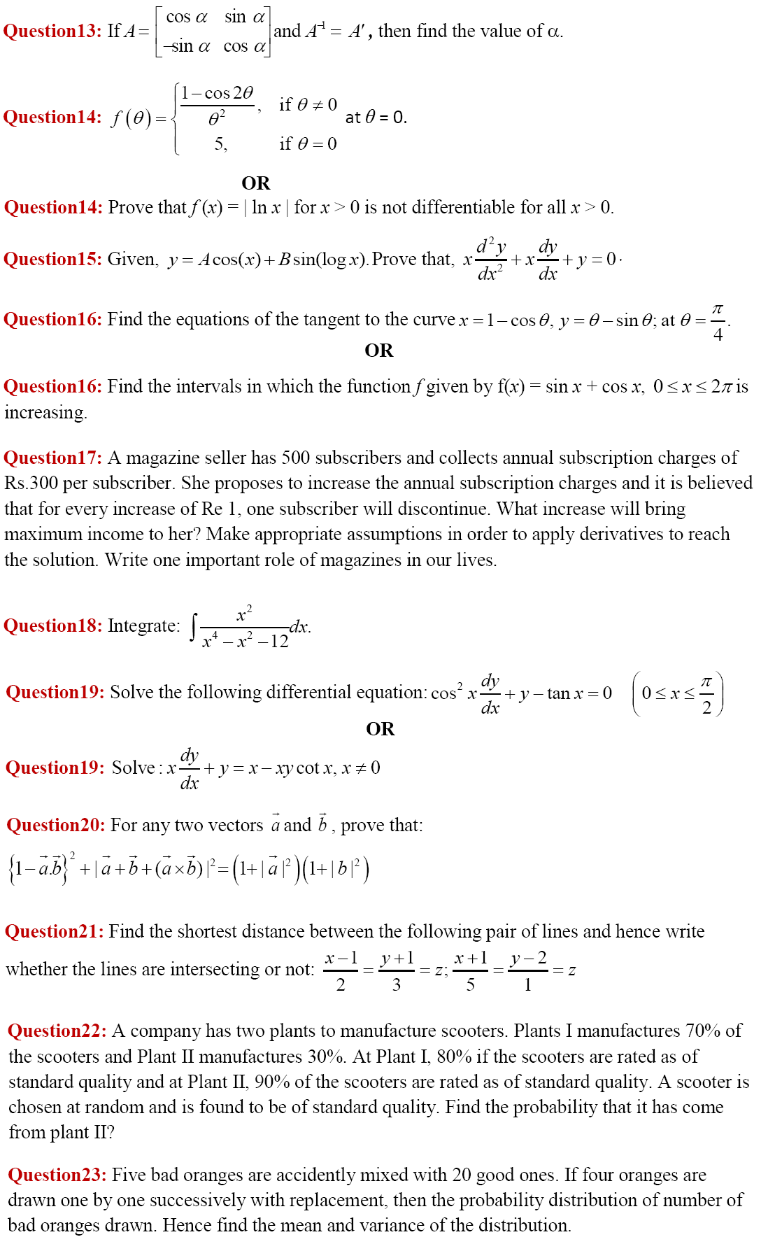 11 questions of 4 marks each, section c, CBSE Class 12 Maths Paper