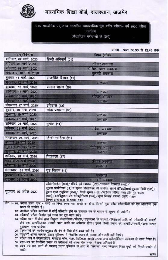 RBSE 12th Time Table 2020: 3