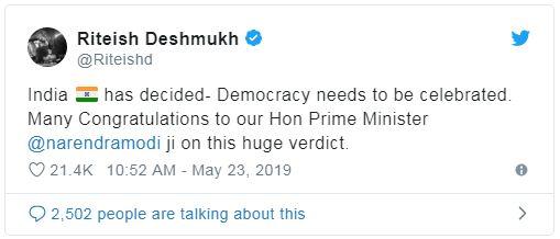 ritesh Deshmukh Tweet