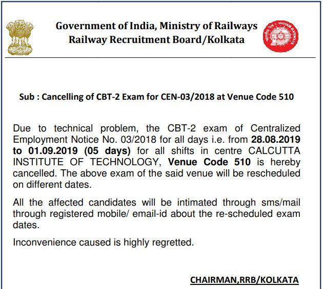 RRB JE 2019 CBT-2 Exam Cancel