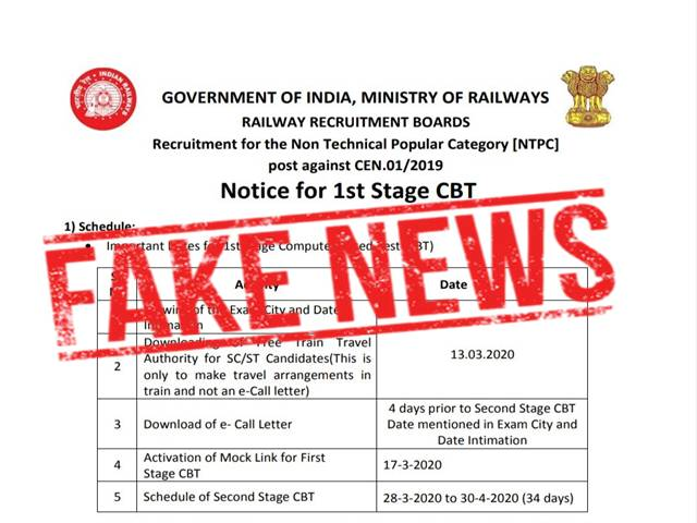 RRB NTPC 2019 Exam Date & Admit Card Fake Notification
