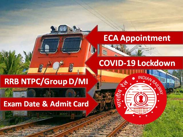 RRB NTPC 2020/RRB Group D 2020/RRB MI 2020 Exam Updates: CBT likely to be held by End of 2020, ECA Appointment Extended to June 2020