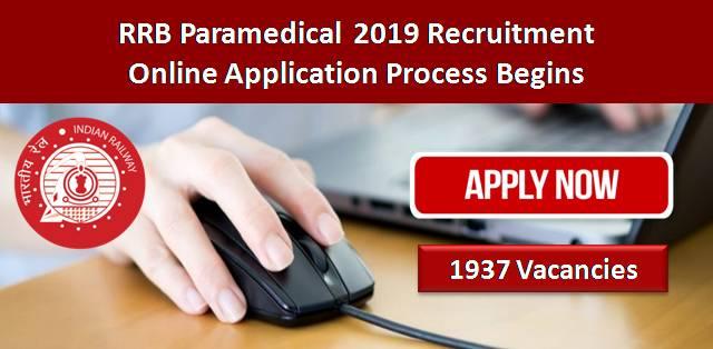 RRB Paramedical 2019 Application Process