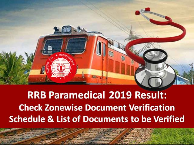 RRB Paramedical 2019 Document Verification Schedule