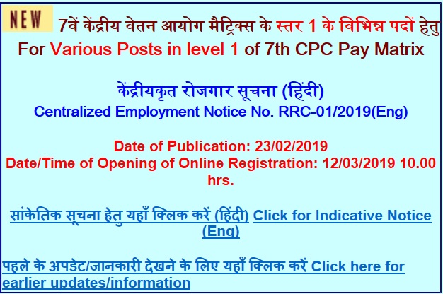 Railway (RRC) Group D Recruitment 2019 for 103739 Level 1 Posts Notification Download