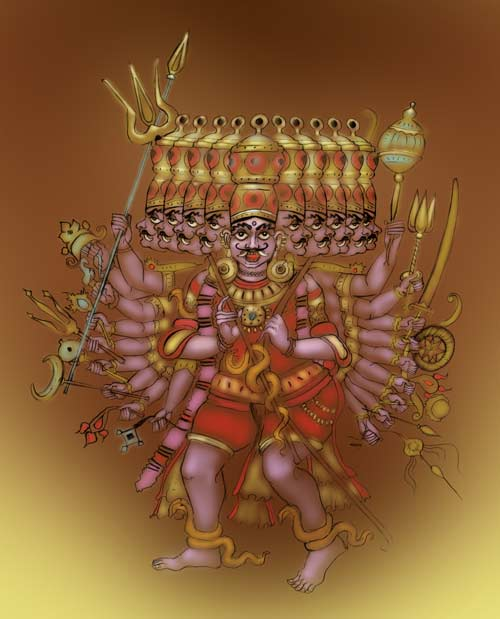 What does Ravana ten heads symbolises?