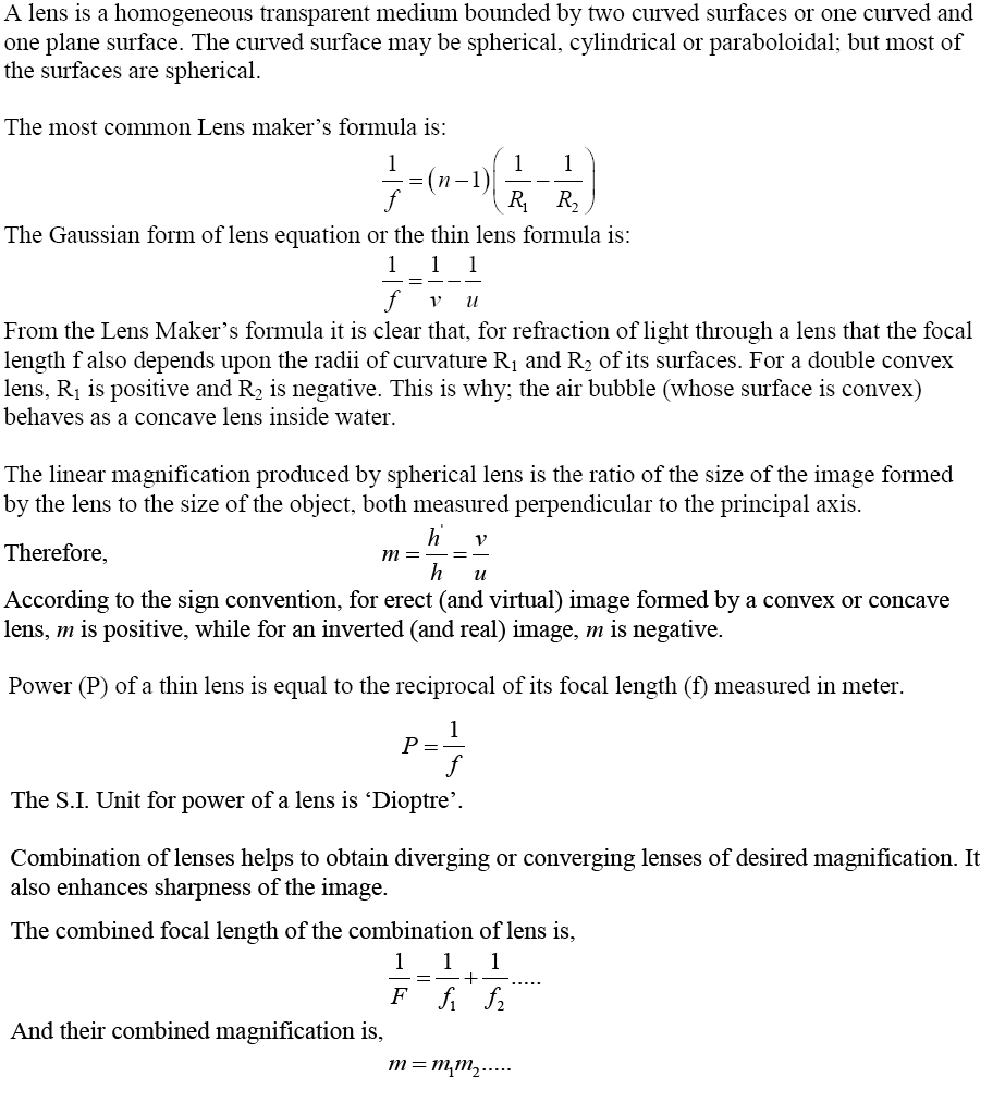 Lenses and Lens Maker's Formula