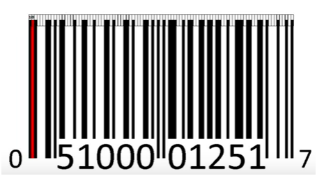 Red colour light barcode