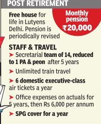 Retirements benefits of Prime Minister