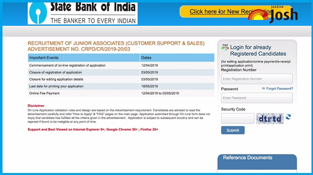 Home page of SBI Clerk 2019 Online Application