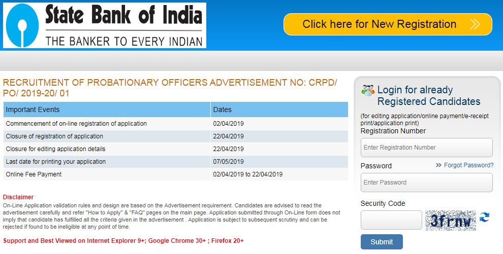 SBI PO 2019 Apply