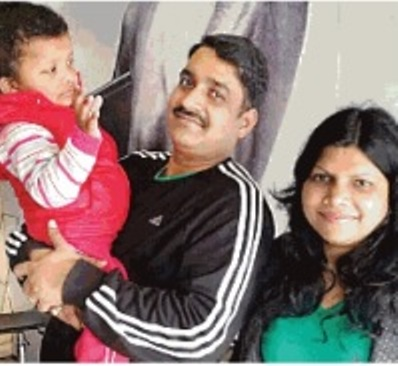 Anjali Gangwar with her husband and daughter