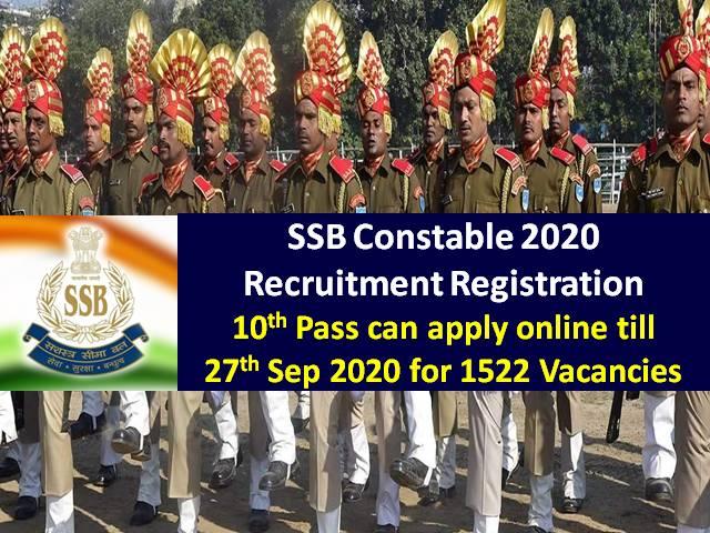 SSB Constable Recruitment 2020 Registration