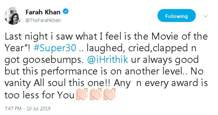 Super 30 Movie Review: Farah Khan Another Tweet