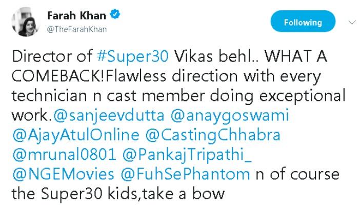 Super 30 Movie Review: Farah Khan Latest Tweet
