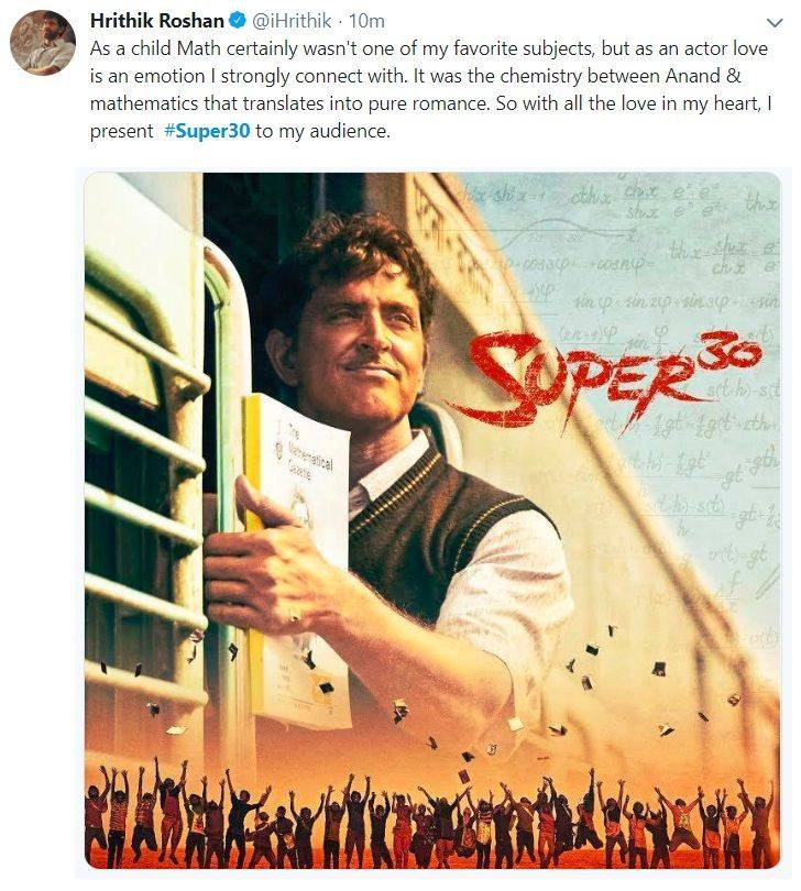 Super 30 Movie Review: A tweet by Hrithik Roshan