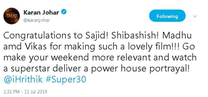 Super 30 Movie Review: Karan Johar