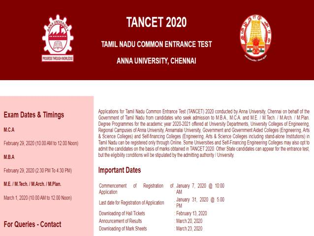 TANCET 2020 admit card