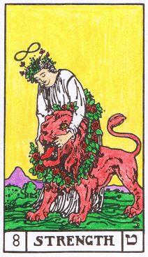 Tarot card with infinite symbol